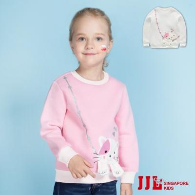 JJLKIDS 貓咪包包造型棉質內刷毛長袖上衣(2色)