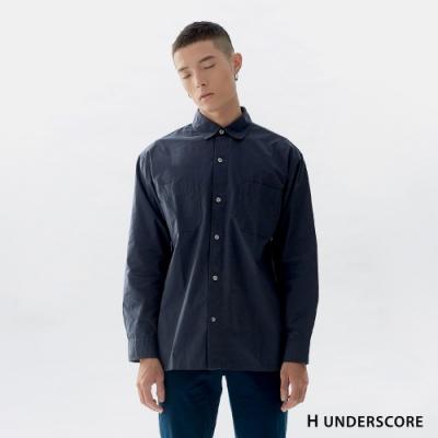 H UNDERSCORE 全新潮牌 男裝 - 純色簡約棉質襯衫 - 藍色