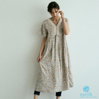 earth music 素面/碎花圖案V領蕾絲拼接洋裝