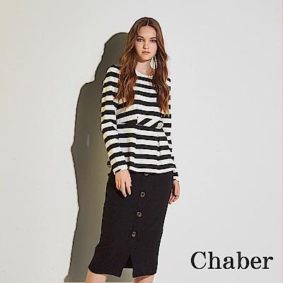Chaber巧帛 無印簡約好感條紋印花打摺造型上衣(兩色)-黑
