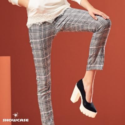 【SHOWCASE】帥氣格紋顯瘦修身九分褲-灰色
