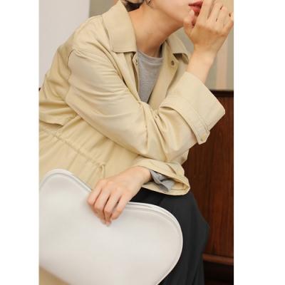 THG 韓國chic寬鬆個性抽繩長款簡約冷淡風衣外套- 鵝黃