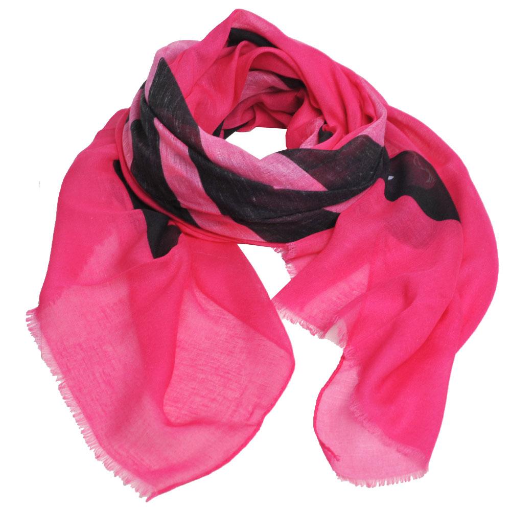 MOSCHINO 俏麗貝蒂LOGO義大利製螺縈混棉披肩/圍巾(桃紅)