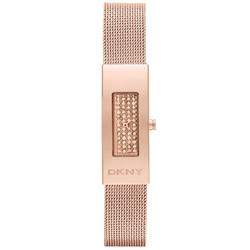 DKNY 平凡美學都會晶鑽米蘭腕錶-玫瑰金