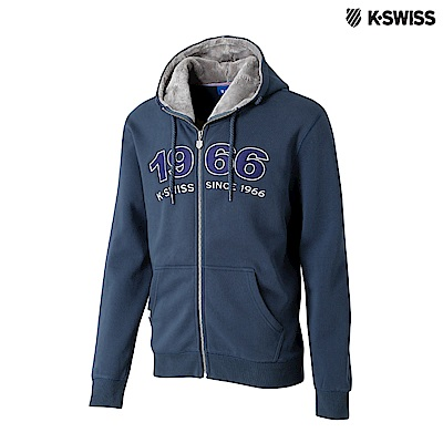 K-SWISS Fake Fur Hoodie Jkt時尚連帽外套-男-深藍