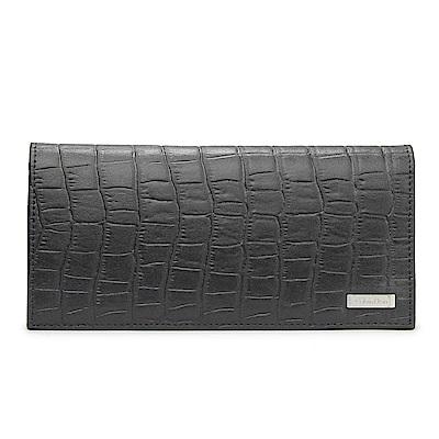 Calvin Klein 經典鱷魚紋鐵牌LOGO長夾-黑色