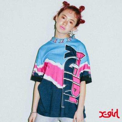X-girl VIVID THUNDER TEE短袖T恤-藍/粉/黑