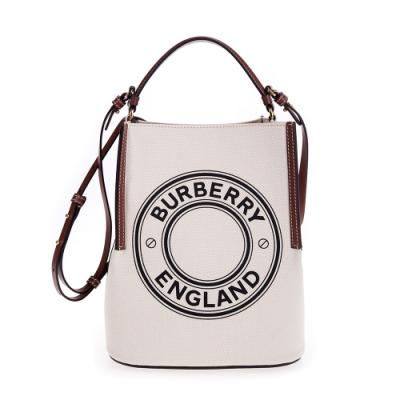 BURBERRY 新款小型標誌圖案棉質帆布Peggy 手提/肩背水桶包 (棕色)