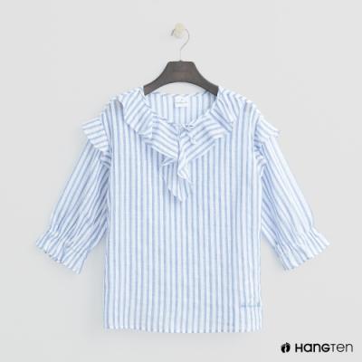 Hang Ten-童裝-休閒直條紋襯衫-藍