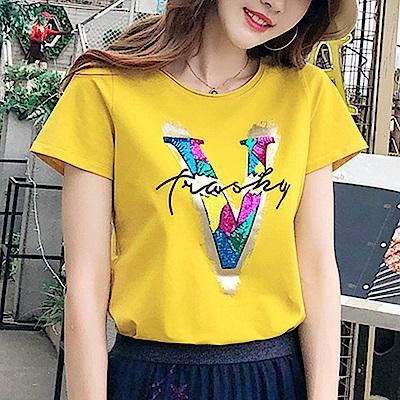 初色  時尚字母亮片T恤-共4色-(M-XL可選)
