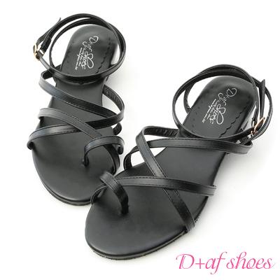 D+AF 獨特氣息.交叉線條小坡跟涼鞋*黑