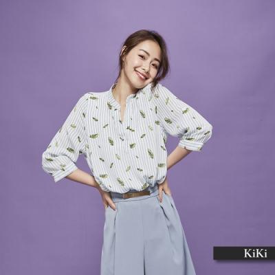 新降【KiKi】直條紋樹葉圖騰-襯衫(二色)