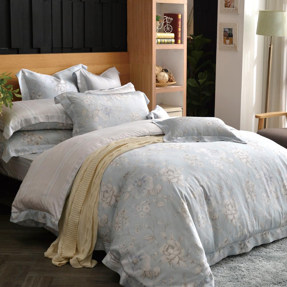 義大利La Belle 水芙花顏 特大天絲四件式防蹣抗菌吸濕排汗兩用被床包組