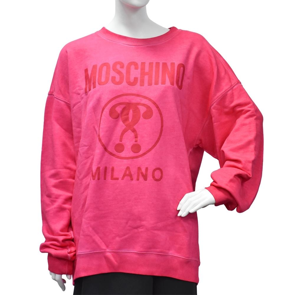 MOSCHINO 經典品牌LOGO長袖圓領T恤(桃紅)