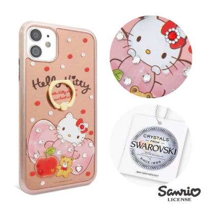 三麗鷗 iPhone 12 / 12 Pro 6.1吋施華彩鑽全包鏡面指環雙料手機殼-俏皮凱蒂