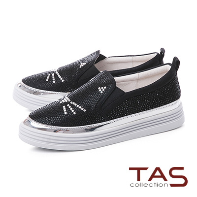 TAS水鑽貓咪造型厚底懶人休閒鞋-閃耀黑