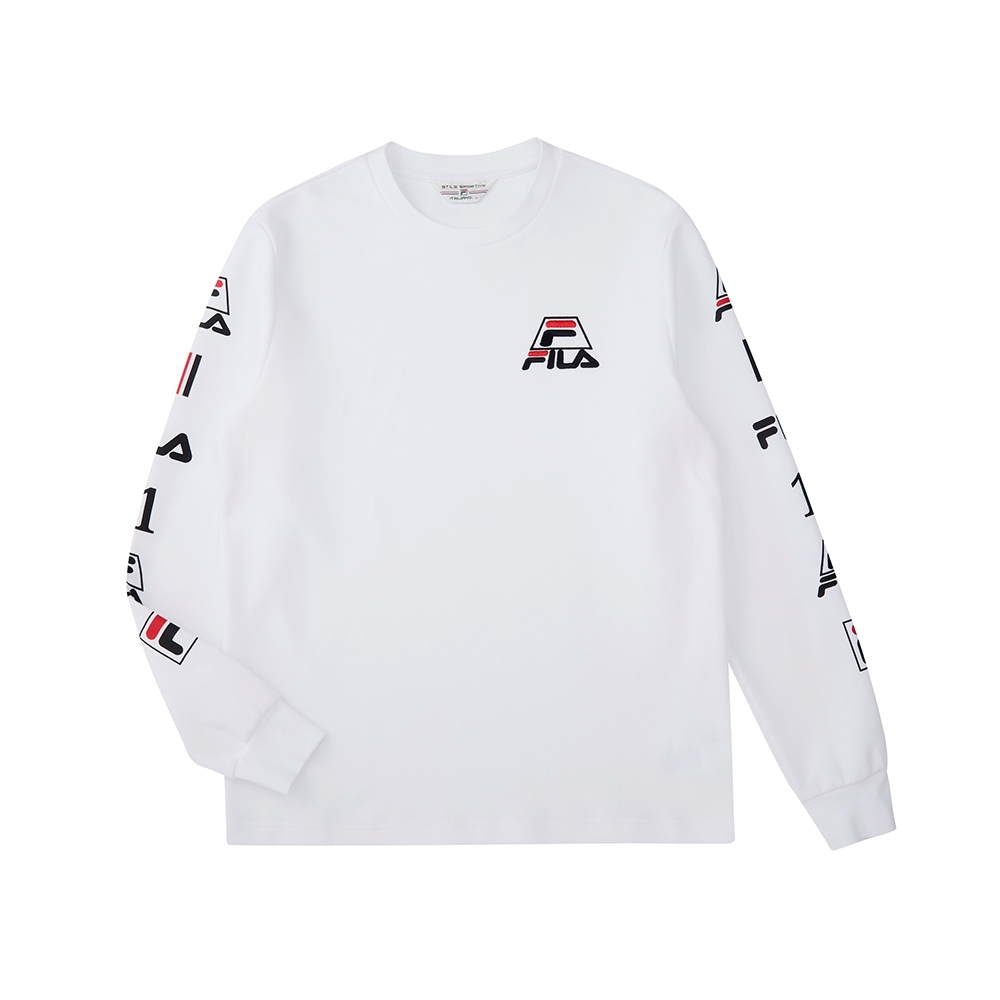 FILA 長袖圓領T恤-白色 1TEU-5451-WT
