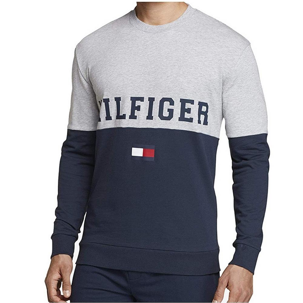 Tommy Hilfiger 男款拼色長袖T恤 (灰拼深藍)