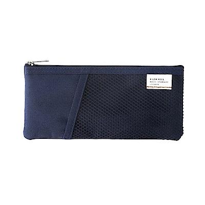 Livework 休閒風雙層對摺收納筆袋V2-海軍藍