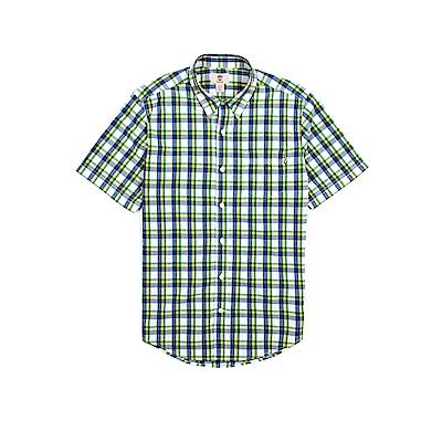 Timberland 男款藍綠跳色格紋修身短袖襯衫 | A19MTB19
