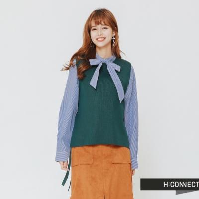H:CONNECT 韓國品牌 女裝 - 側綁結針織背心-綠(快)