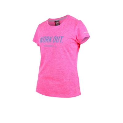 FIRESTAR 女吸濕排汗圓領短袖T恤-慢跑 路跑 螢光粉丈青