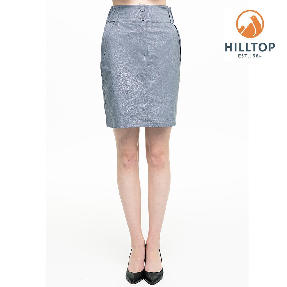 【hilltop山頂鳥】女款吸濕快乾抗UV彈性壓花短裙S12F01灰