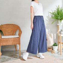 慢 生活 造型口袋條紋棉麻感寬褲- 藍色