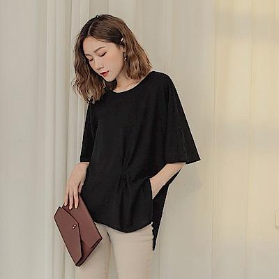 純色不易皺不對稱打褶涼爽七分連袖上衣-OB大尺碼