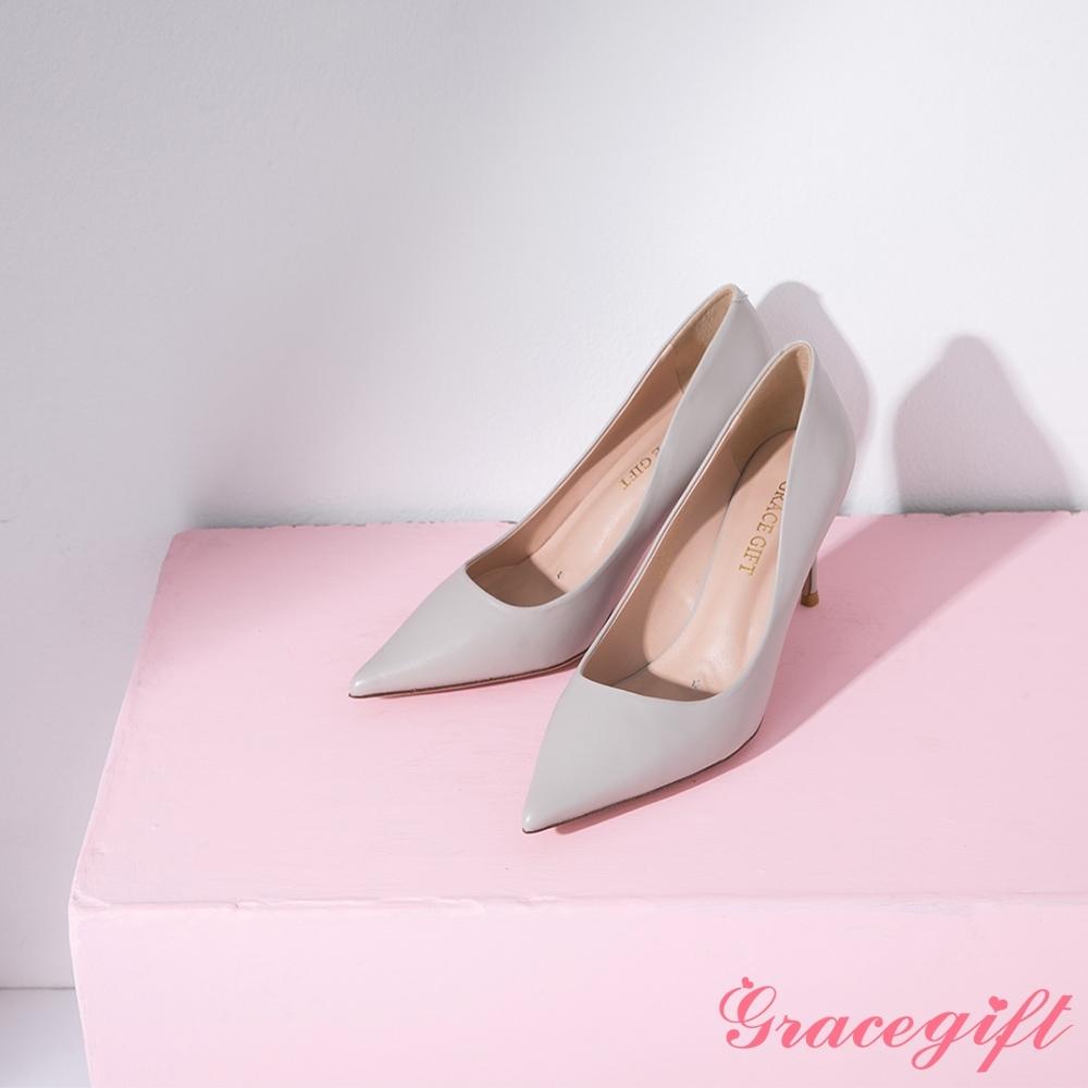 Grace gift-素面尖頭平口細高跟鞋 淺灰