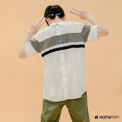 Hang Ten- 青少童裝-純棉都市休閒襯衫-白