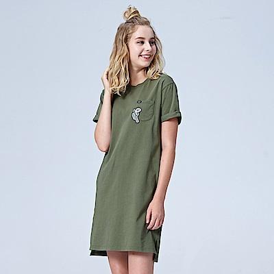 Lee 小口袋長版短袖圓領TEE-軍綠色
