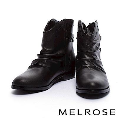 短靴 MELROSE 率性仿舊抓皺後繫帶牛皮粗低跟短靴-黑
