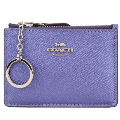 COACH 馬車珠光防刮皮革後卡夾鑰匙零錢包(長春花紫)