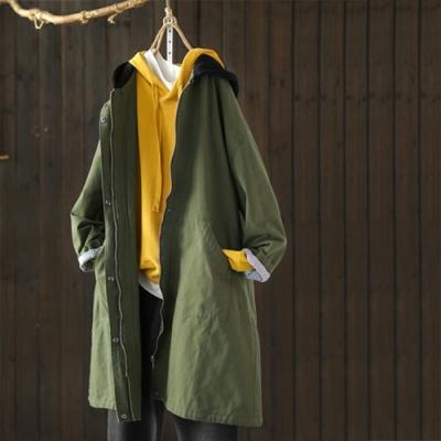 針織拼接連帽夾棉風衣中長版寬鬆外套-設計所在