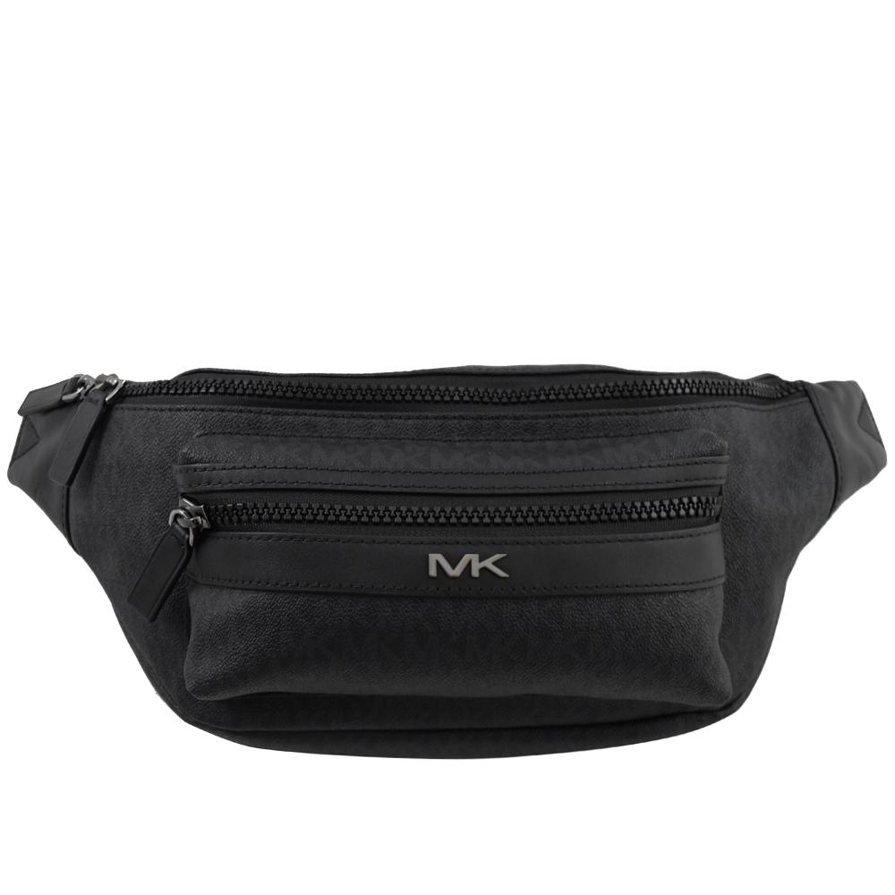 MICHAEL KORS COOPER 金屬MK經典PVC腰包/胸口包(黑)