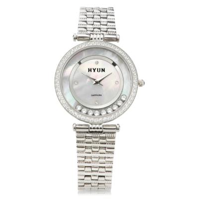 HYUN炫 珍珠母貝環繞鑽石鋼帶錶-銀