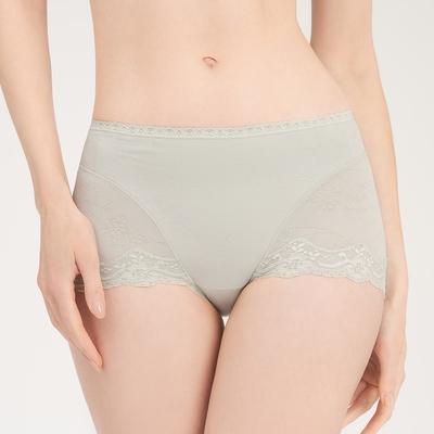 黛安芬-機能褲系列 高腰平口內褲 M-EL 霧綠色
