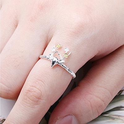 iSFairytale伊飾童話 花與鹿 亮麗白銀銅鍍30銀開口戒指