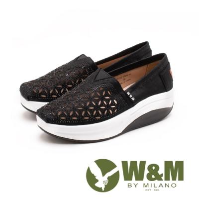 W&M(女) BOUNCE系列 鏤空雕花 透氣增高厚底鞋-黑(另有銀)