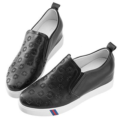 Robinlo & Co.質感造型水鑽牛皮內增高休閒鞋 黑