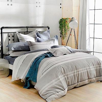 義大利La Belle 加大純棉防蹣抗菌吸濕排汗兩用被床包組-城市日光