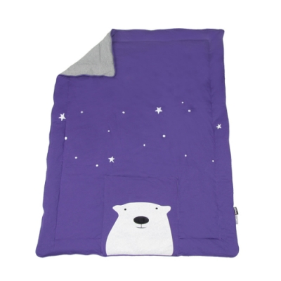 YVONNE COLLECTION 北極熊收納抱枕車用四季被(3x4呎)-紫