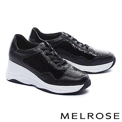 休閒鞋 MELROSE 時髦潮感亮片拼接牛皮厚底休閒鞋-黑