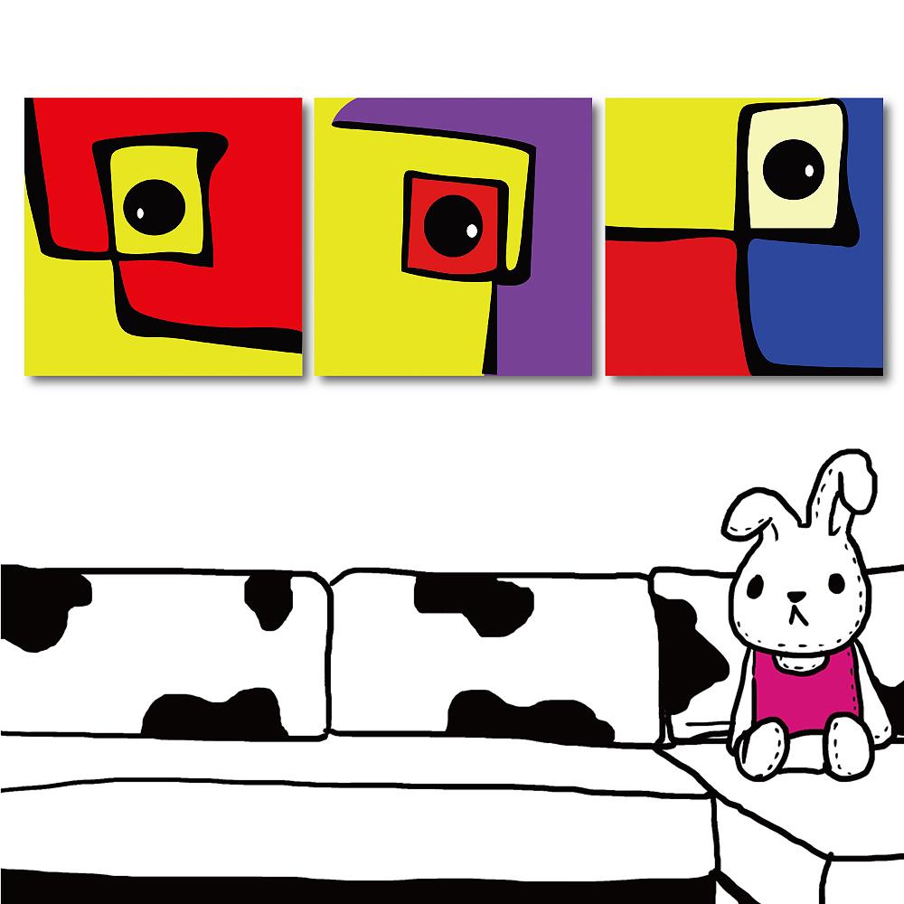 123點點貼 三聯式方形壁貼-童趣30x30cm