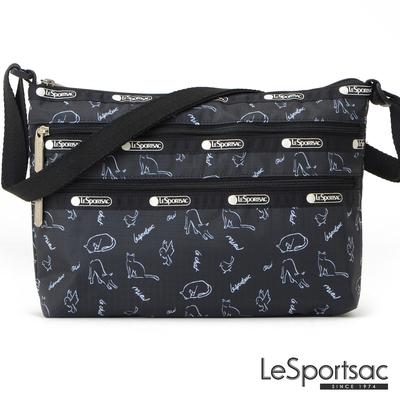 LeSportsac - Standard 橫式三層拉鍊斜背包 (黑貓與鳥)