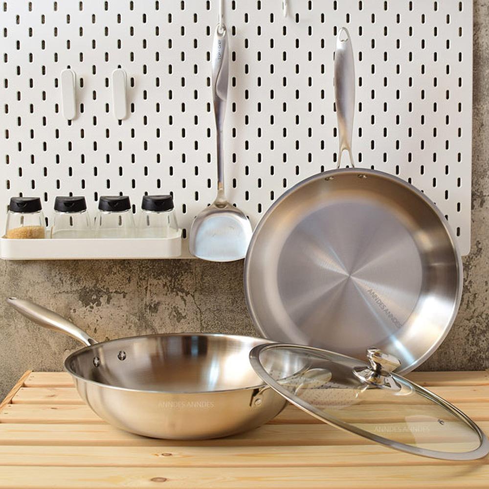 頂尖廚師 頂級白晶316不鏽鋼深型32cm雙鍋組(二鍋一蓋一鏟)