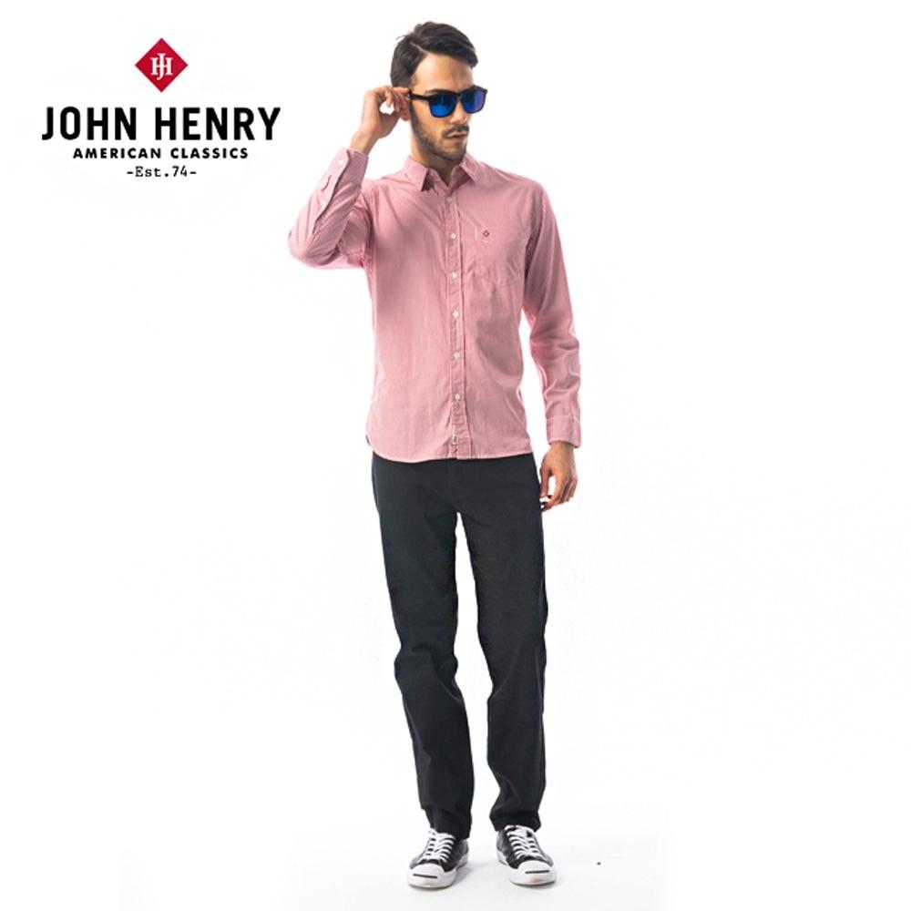 【JOHN HENRY】原色窄管修身牛仔褲-黑