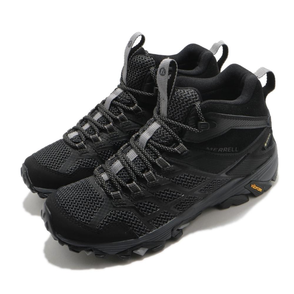 Merrell 戶外鞋 Moab FST 2 GTX 女鞋 登山 越野 耐磨 黃金大底 防潑水 中筒 黑 灰 ML599534