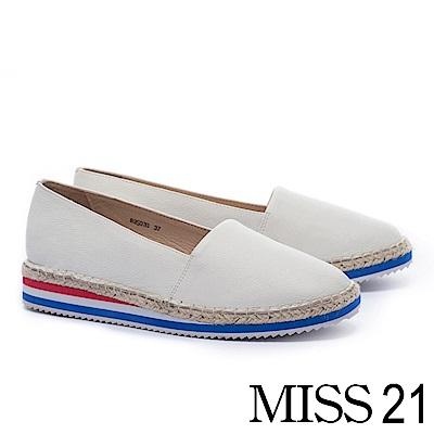 厚底鞋 MISS 21 活潑彩虹底設計草編厚底鞋-白
